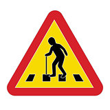 Traffic sign warning pedestrian elderly