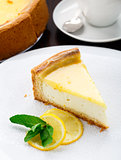 Lemon cheesecake on a plate