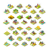Isometric Building City Map Farm Icon Set Vector Illustration