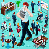 Isometric Business People Isolated Icon Set Vector Illustration