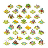 Isometric City Map Farm Building Icon Set Vector Illustration