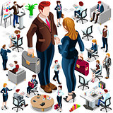 Isometric Icon Set Isolated Business People Vector Illustration