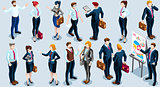 Isometric People Boss Deal Icon 3D Set Vector Illustration