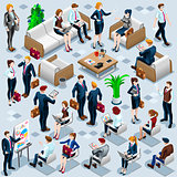 Isometric People Business Staff 3D Icon Set Vector Illustration