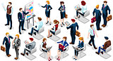 Isometric People Businesswoman 3D Icon Set Vector Illustration