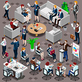 Isometric People Meeting Icon 3D Set Vector Illustration