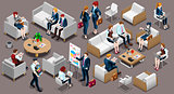 Isometric People Meeting Room Icon 3D Set Vector Illustration