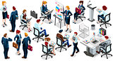 Isometric People Sale Interview 3D Icon Set Vector Illustration