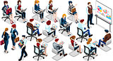 Isometric People Sale Training 3D Icon Set Vector Illustration