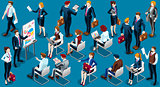 Isometric People Staff Analysis Icon 3D Set Vector Illustration