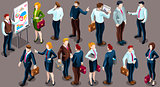 Isometric People Staff Deal Icon 3D Set Vector Illustration