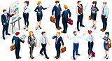 Isometric People Team Deal 3D Icon Set Vector Illustration