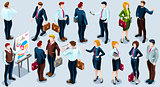 Isometric People Trendy Business 3D Icon Set Vector Illustration