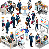 Isometric People Trendy Teamwork Icon 3D Set Vector Illustration