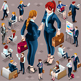 Isometric Vector Isolated Business People Icon Set Illustration