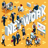 Network Isometric People 3D Set Vector Illustration