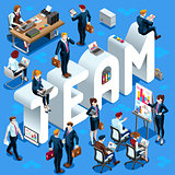 Team Isometric People 3D Set Vector Illustration