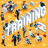 Training Isometric People 3D Set Vector Illustration