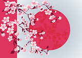 cherry blossom art picture. Vector sakura tree