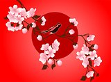 cherry blossom art picture. Vector sakura flower