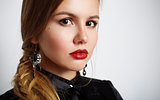 portrait of cute beautiful young girl with wonderful lips