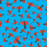 Red Metallic Extinguisher Seamless Pattern
