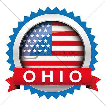Ohio and USA flag badge vector
