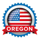 Oregon and USA flag badge vector