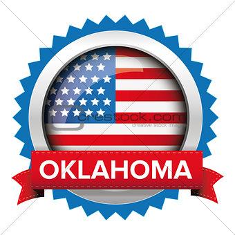 Oklahoma and USA flag badge vector