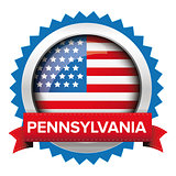 Pennsylvania and USA flag badge vector
