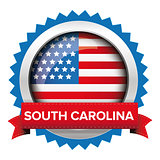 South Carolina and USA flag badge vector