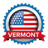 Vermont and USA flag badge vector
