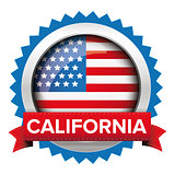 California and USA flag badge vector