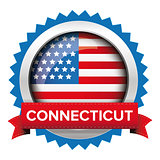 Connecticut and USA flag badge vector