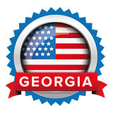 Georgia and USA flag badge vector