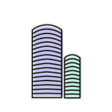 Isolated blue color skyscraper in lineart style icon, element of urban architectural building vector illustration.