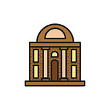 Isolated brown color low-rise municipal house in lineart style icon, element of urban architectural building vector illustration.