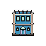 Isolated blue color low-rise municipal house in lineart style icon, element of urban architectural building vector illustration.