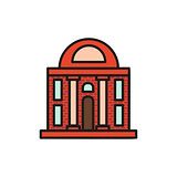 Isolated vinous color low-rise municipal house in lineart style icon, element of urban architectural building vector illustration.