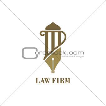 Law service logo with pillar and fountain pen. Vector illustrati