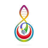 Science - art concept with brush, note, dna shaped. Vector illus