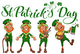 St. Patricks day lettering text. Set fun cartoon man