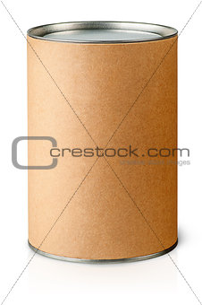 Cardboard tube with metal lids vertically