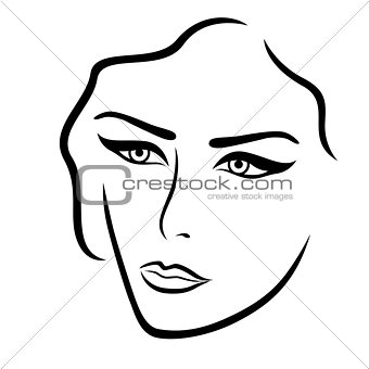 Abstract young lady face