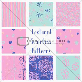 Abstract Hand Drawn Grunge Textured Seamless Patterns