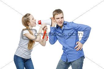Sister screaming at brother