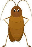 funny brown cockroach standing and smiling on a white background.