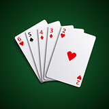 Poker hand cards straight combination template