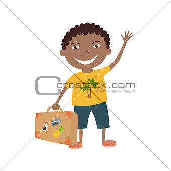 Afro American boy with a suitcase, vector illustration