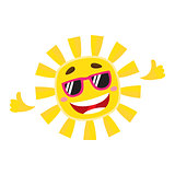 Smiling, cheerful sun wearing sunglasses, isolated cartoon vector illustration